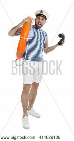 Sailor With Binoculars And Ring Buoy On White Background