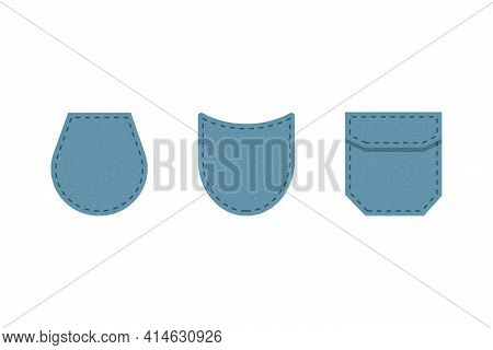 Denim Patch Pocket. Set Of Blue Denim Bag Vector Icons. Uniform Casual Style Jeans Pockets Patches.
