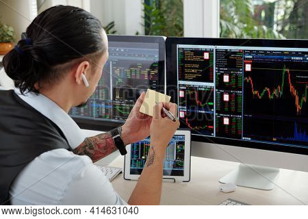 Trader Looking At Stock Market Charts On Computer Screens And Taking Notes On Sticky Notes