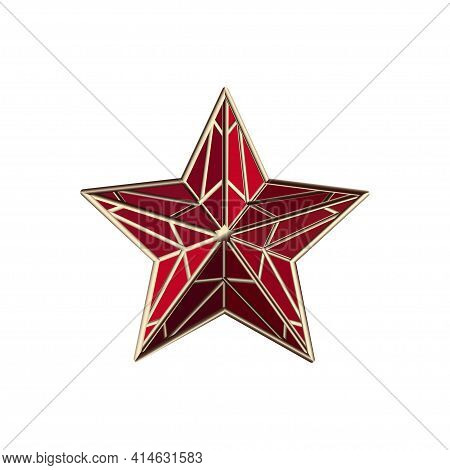 Red Ruby Star As On The Kremlin. Vector Illustration On White Background. Victory Day.