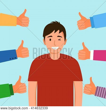 People Approval Praise Happy Man. Young Guy Proud Of Himself And Confident. Happiness Positive Perso