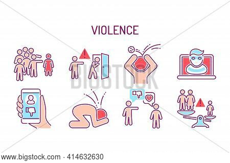 Violence Color Line Icons Set. Harassment, Social Abuse And Bullying. Isolated Vector Element.