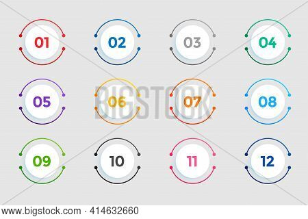 Circular Bullet Points Numbers From One To Twelve
