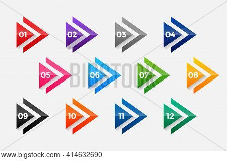Arrow Directional Bullet Points Numbers From One To Twelve