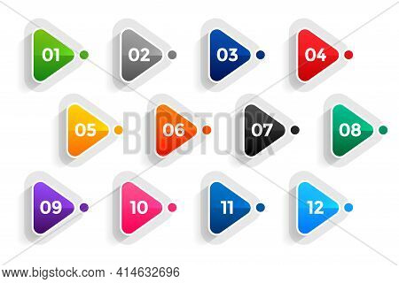 Triangle Directional Bullet Points Numbers From One To Twelve