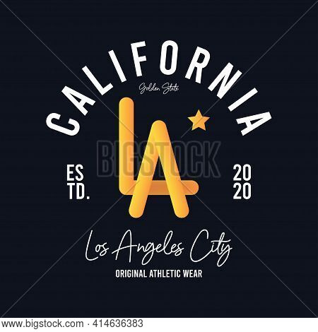 Los Angeles, California T-shirt Design With Photorealistic Volumetric La Letters. Typography Graphic