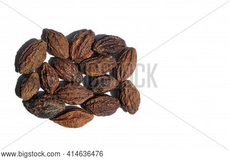 Terminalia Chebula Or Haritaki Fruit Isolated On White Background With Copy Space, Also Known As Che