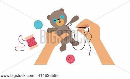 Hands Sewing Toy. Kids Lab, Workshop For Children Or Adults. Hand Made Bear, Buttons And Threads Vec