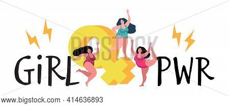 Three Plump Woman. Girl Power, Dancing Female Characters. Women Feminists Vector Concept