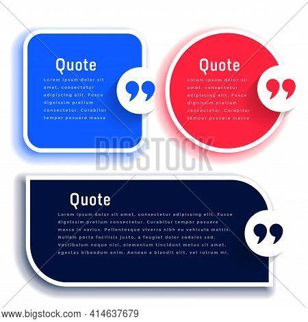 Quotes Or Testimonial Boxes Templates Set Vector Template Design