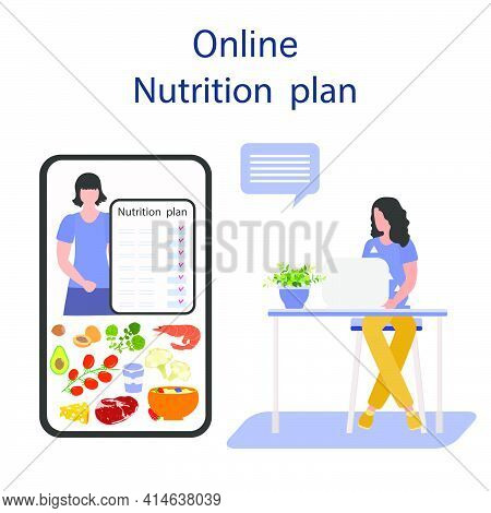 Vector Illustration Nutrition Consultant Online Explains Diet To Human. Proper Nutrition. Organic Me