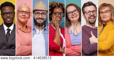 Collage Of Young And Senior People Wearing Reading Glasses