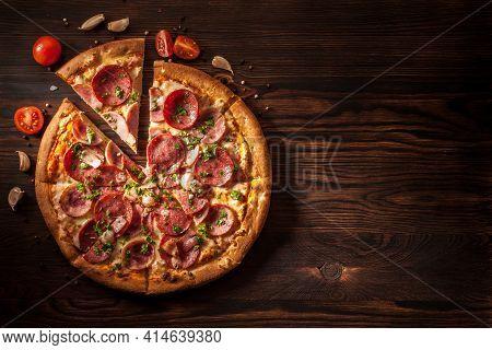 Concept Of Delicious Pizza, Mozzarella Cheese And Copy Space. Traditional Pizza Background.