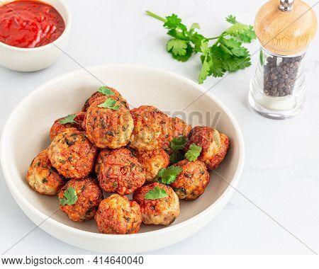 Chicken Meatballs, Top View Fried Meatballs, Asian Food, Chicken Appetizer Photo