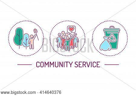 Community Service Color Line Icons Set. Plant Trees Concept.
