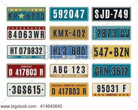 Car Plates. Aluminum Embossed Retro Auto Numbers, Metal Licence Identifications, Color Vehicle Numbe