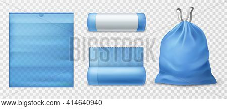 Realistic Trash Bags. Kitchen 3d Garbage Blue Eco Pack With Ties In Different States, Empty And Full