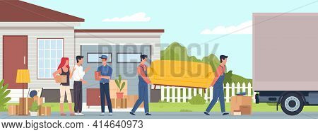 Cargo Company. Moving Home, Men Carry Sofa To Truck, Family Near House Talking Delivery Service Mana