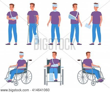 Man With Injury. Guy With Bandage And Plaster, Injuries And Wounds, Arms And Legs Fractures, Medical