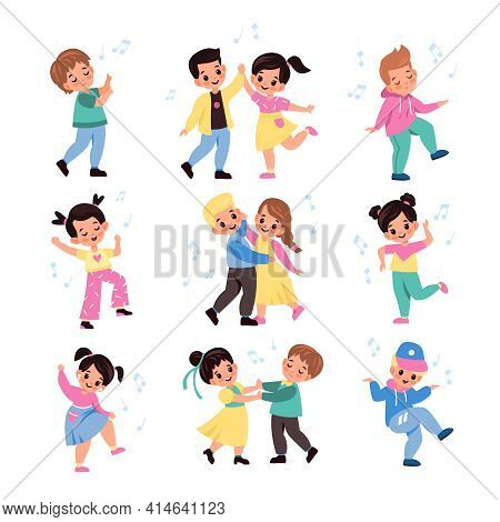 Kids Pair Dancing. Funny Young Dancers Collection, Little Musical Couples, Friends Beat Moving, Cute