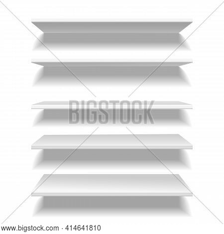 Shelves White. Empty Clear Store Or Library Shelf In Different Angles View, Bookshelf Wall Furniture