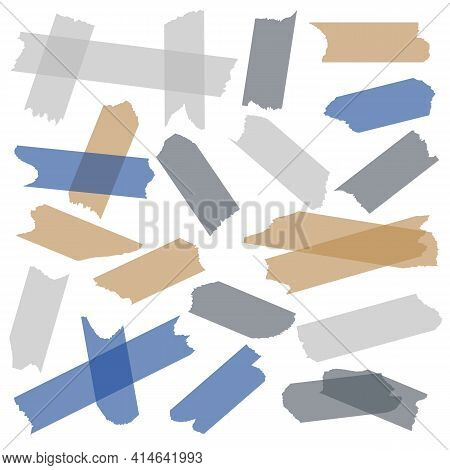 Tape Adhesive. Transparent Sticky Tape, Paper Masking Pieces With Glue Of Adhesive Strips. Gray Blue