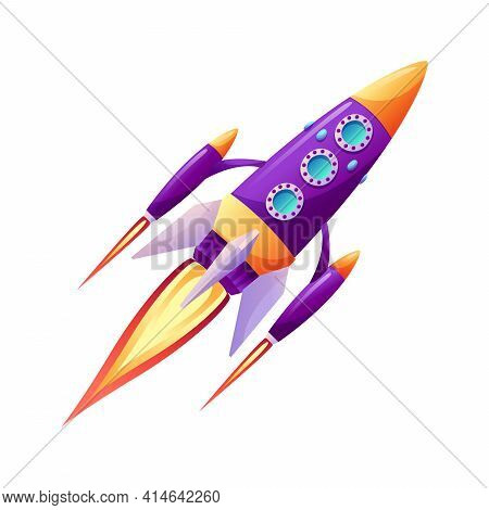 Space Ship Launch Rocket With Fire Trace At Startup Isolated Cartoon Icon. Spacecraft Liftoff, Boost