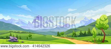 Mountain Landscape With Green Hills, Sandy Road And Natural Valley. Picturesque Place Background, Gr