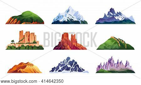 Mountain Ridges Set Isolated Iceberg Tops And Hills, Cartoon Rocky Landscapes. Snowy Alpine Cliffs,
