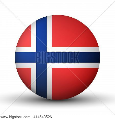Glass Light Ball With Flag Of Norway. Round Sphere, Template Icon. Norwegian National Symbol. Glossy
