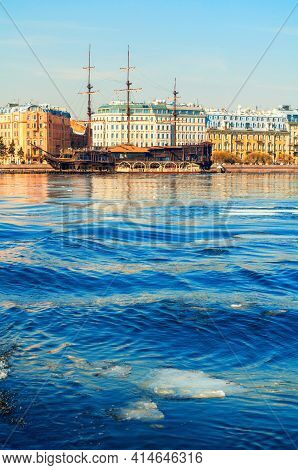 St Petersburg, Russia - April 5, 2019. Mytninskaya Embankment And City Buildings Along The Neva Rive