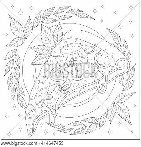 Delicious Pepperoni Cheese Pizza Slice With Leaf Border. Learning And Education Coloring Page Illust