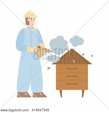 Beekeeper At Apiary With Smoker Pollinates Bees And Hive By Smoke For Take Honey