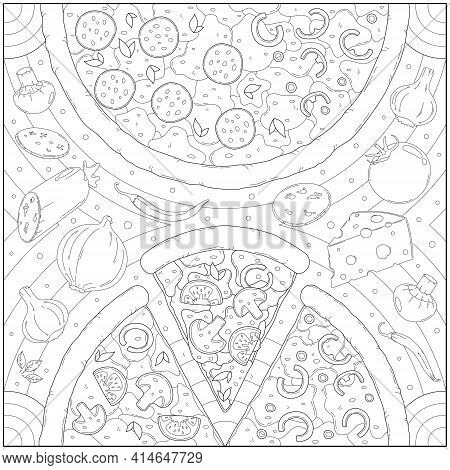 Delicious Pepperoni Cheese Pizza And Ingredients. Learning And Education Coloring Page Illustration
