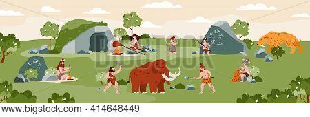 Prehistoric Life Scenes Tribal Primitive Cave People In Stone Age.