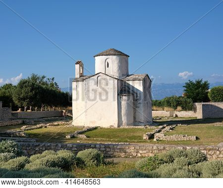 Church Of Holy Cross In Historical Town Nin, North Dalmatia In Croatia. Famous Historic Travel Landm