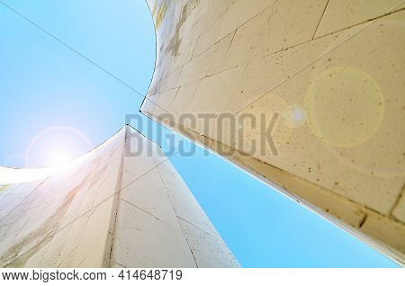 Architecture urban futuristic background, modern architecture, architecture semicircular structure of futuristic architecture design. Modern urban architecture cityscape with sunlight at the top.Modern architecture,futuristic architecture