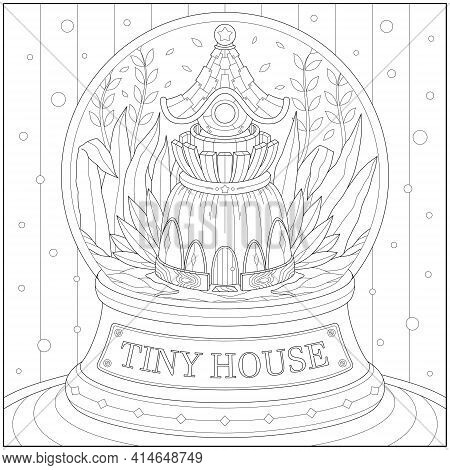 Fantasy Souvenir Tiny House Inside The Glass Ball. Learning And Education Coloring Page Illustration
