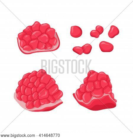 Set Of Pomegranate Fruits And Grains Vector Hand Drawn Illustration. Fresh Pomegranate, Whole And Sl
