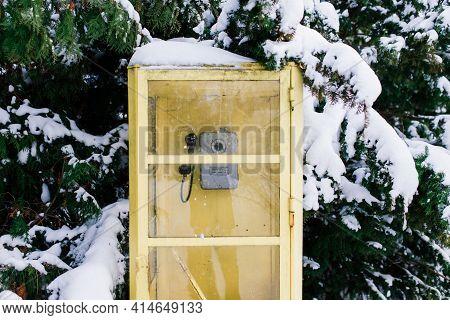 Vintage Retro Callbox In Winter City Park, Snow Landscape