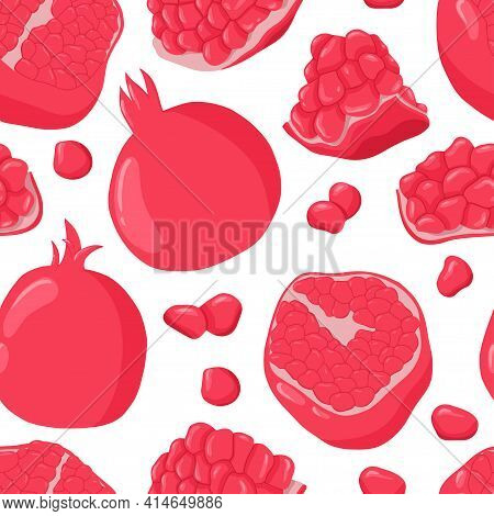 Pomegranate Fruits And Grains Vector Hand Drawn Seamless Pattern. Fresh Pomegranate Slices And Grain