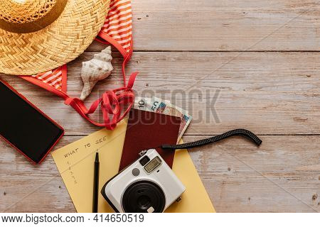 Travel Concept Banner Flat Lay.items For Summer Vacation: Passport,bikini,hat,money,smartphone,camer