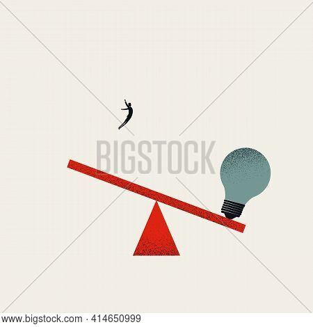 Business Creative Process And Inspiration Vector Concept. Symbol Of Invention, Brainstorming. Minima