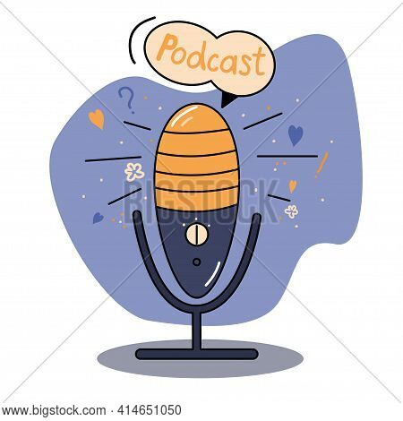 Media Tools, Mic And Speech, Sound Recording Device. Colorful Bright Vector Illustration Of Micropho