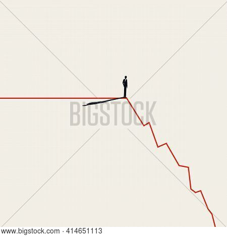 Business Market Crash And Crisis Vector Concept. Symbol Of Failure, Recession, Depression. Minimal I
