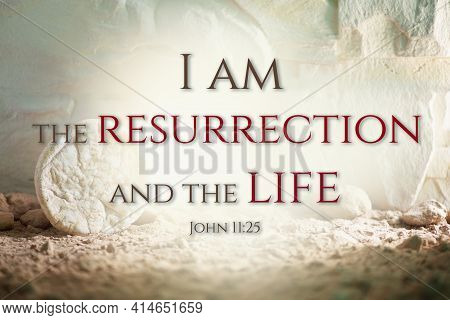 Jesus Christ Resurrection. Christian Easter Concept. Empty Tomb Of Jesus With Light. Born To Die, Bo