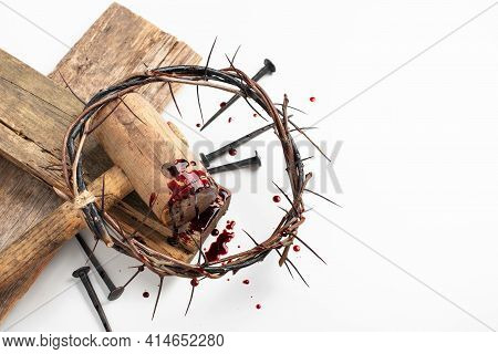 Good Friday, Passion Of Jesus Christ. Crown Of Thorns And Bloody Nails Isolated On White. Christian