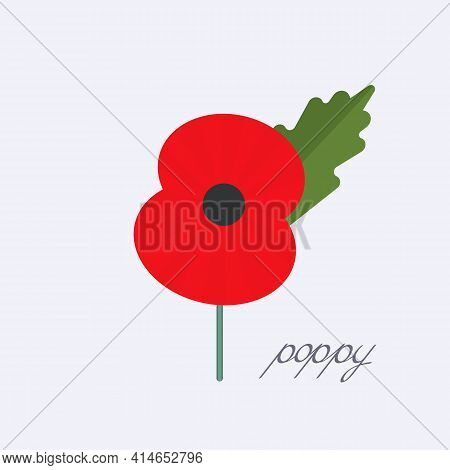 Day Of Remembrance For The Victims Of World War Ii. Poppy Symbol Of Memory. Vector Illustration Isol