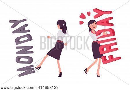 Smart Young Businesswoman, Kicking Monday, Hugging Friday Letters. Attractive Office Lady, Worker Pr