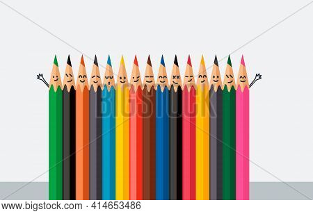 Set Of Colored Wooden Pencils With Different Emotions On The Face. Vector Illustration Isolated